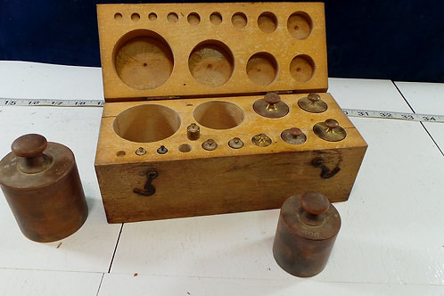 Scale Weights In Wooden Box