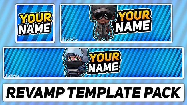Gaming Revamp Pack | Free Photoshop Template [YouTube Banner, Twitter Header & Avatar]