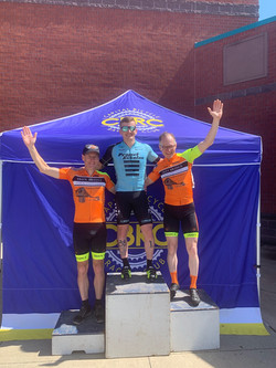 Happy Josh on the podium after his new bike fit.