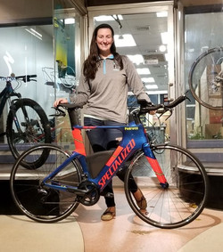 Kimberly loving her new bike and bike fit