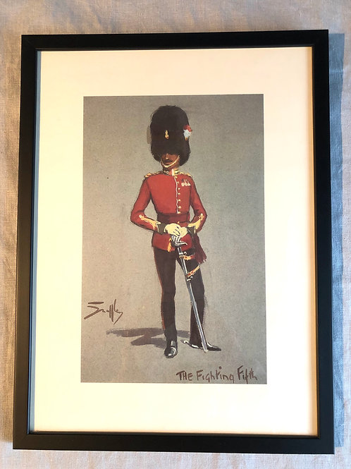SNAFFLES PRINT, The Fighting Fifth, military artwork , black framed