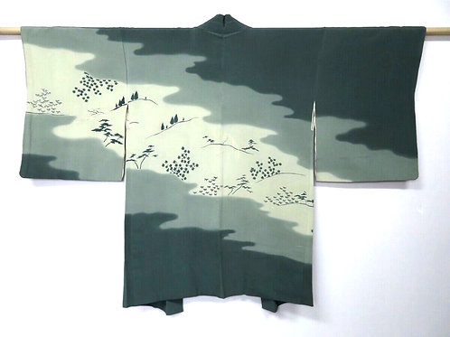 KESHIKI vintage Silk Japanese Kimono Haori Jacket with landscape design