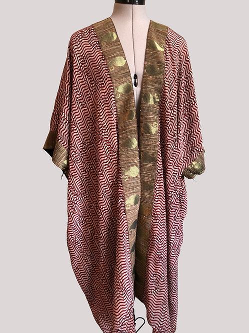 CARRIE KAFTAN KIMONO  'Red Ripple' ca9, vintage Indian silk, gold border