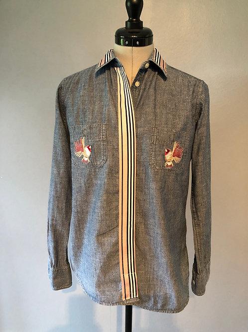 DENIM SHIRT D4 button, 2 front pocket, ribbon, bird motifs, one only, size 10