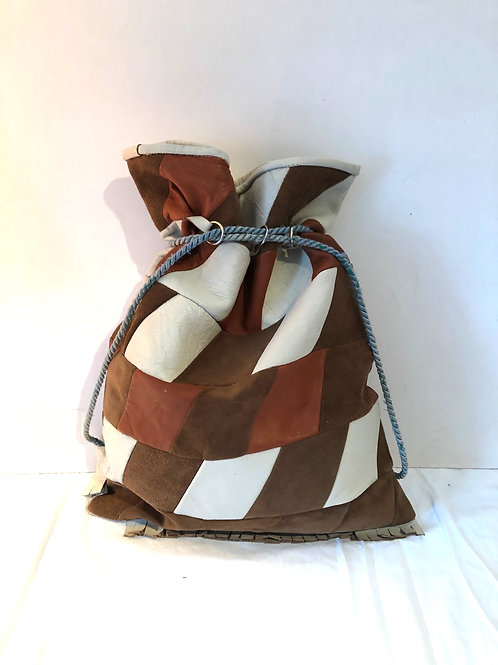 1960/70s PATCHWORK LEATHER BAG, duffle drawstring bag with blue cord, excellent