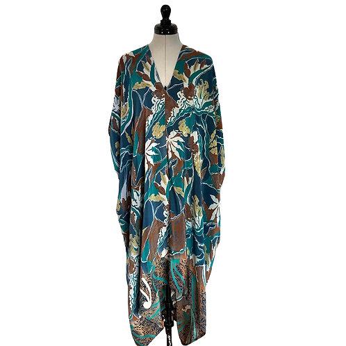 JAZZY KAFTAN J7, 'Blue Garden', vintage Indian silk, one-size kaftan robe