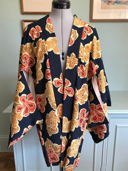 SAKIKO dark blue silk Japanese Haori with orange and yellow plum blossom