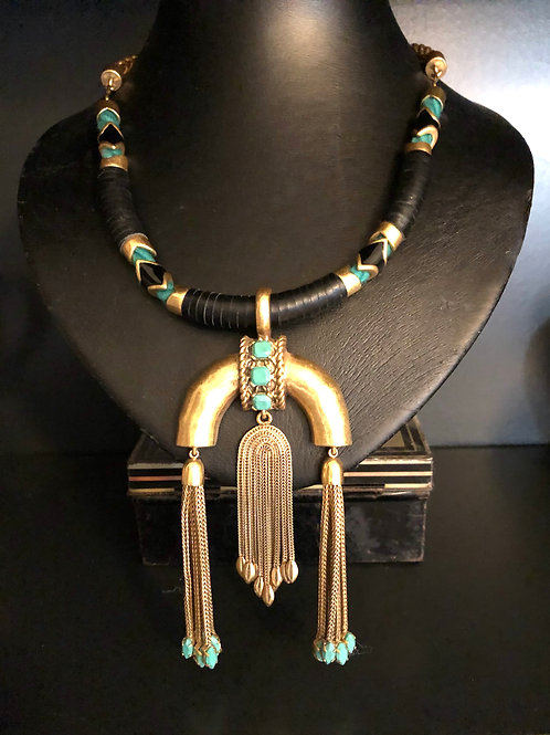 EGYPTIAN STYLE NECKLACE with detachable chain. Gold, black and turquiose.