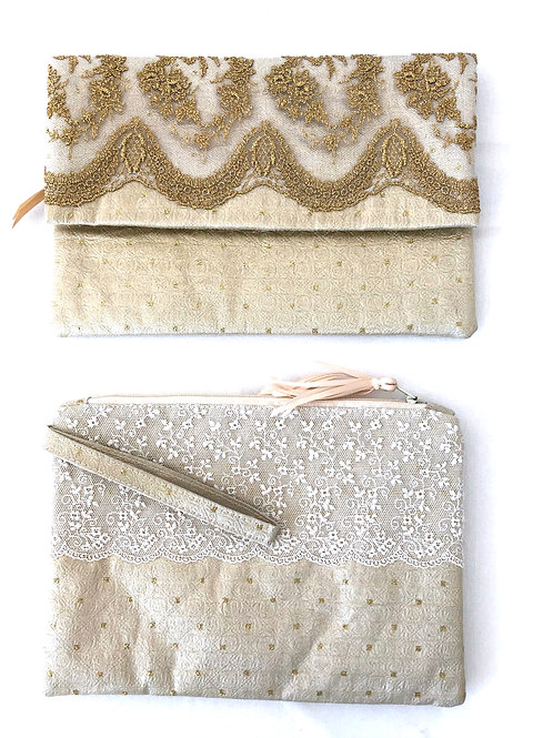 Cream and Gold Clutch Bags with fine Ivory Lace, zip closure