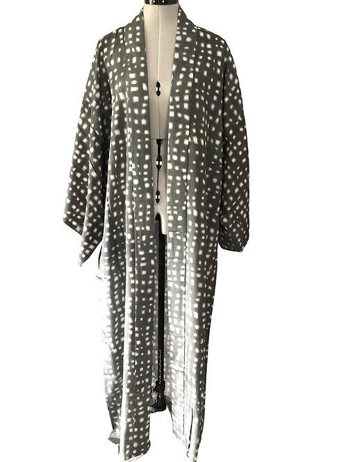 MENS SUMMER KIMONO, Grey Silk, hand-made vintage gown,
