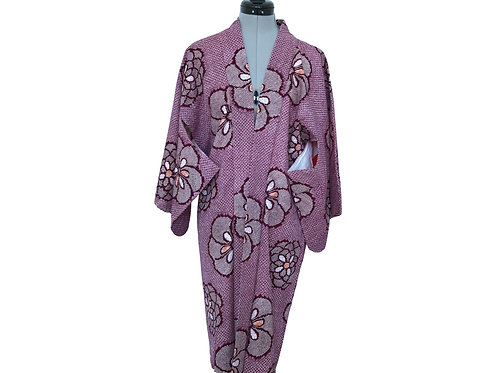 HANA vintage Japanese Kimono Haori c.1950s in Cotton with Shibori design
