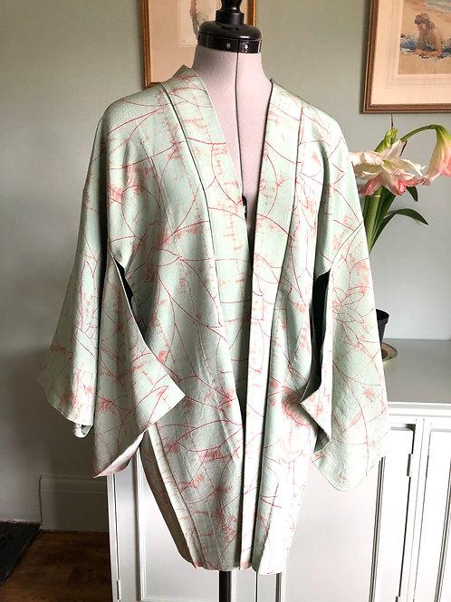 SHIBORI SHADOW 1950-90s vintage Silk Japanese Kimono Haori Jacket