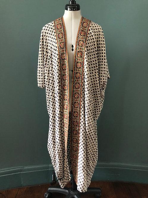 CARRIE KAFTAN KIMONO ca8 in Mirror Dot vintage Indian silk