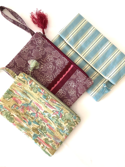 SALE Clutch Bags, hand-made from vintage Theatre & Japanese Kimono Fabrics