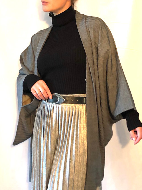 'Dotty Wave' vintage silk Japanese Haori jacket in grey with tiny white dots