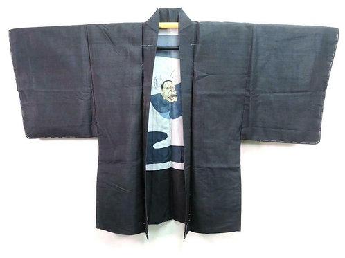 VINTAGE MENS HAORI, Japanese Jacket,  black silk,  HANNYA NOH MASK lining
