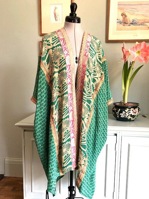 CARRIE KAFTAN KIMONO ca6, hand made, vintage Indian silk crepe