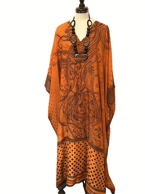 CHLOE KAFTAN ch20 vintage Indian silk crepe, dark orange & black, one size