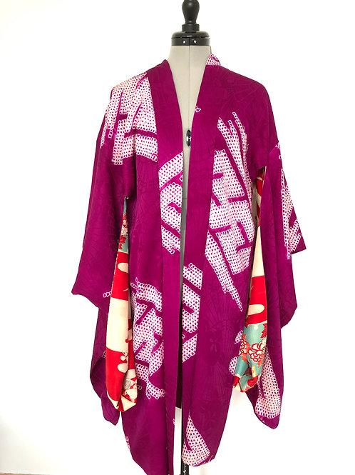 SAYAGATTA SHIBORI, antique Japanese Kimono Haori Jacket, Rinzu Silk and Shibori