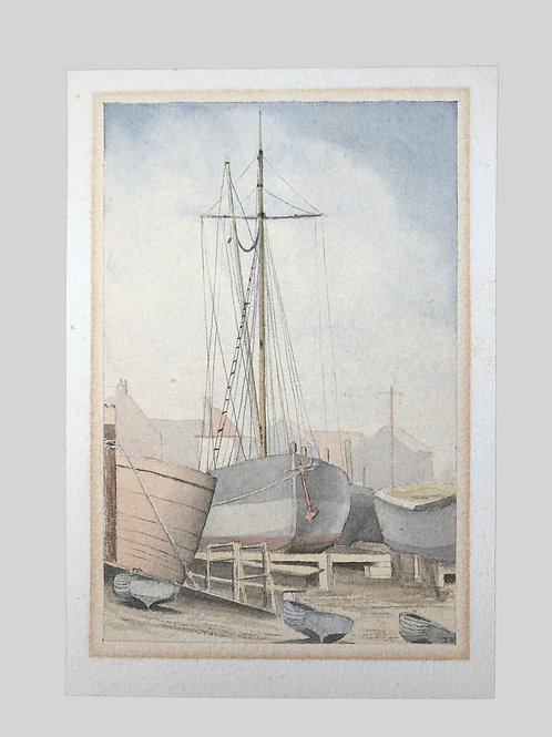 WATERCOLOUR MALDON BOATYARD, on paper, unframed ,painting in soft tones of blue,