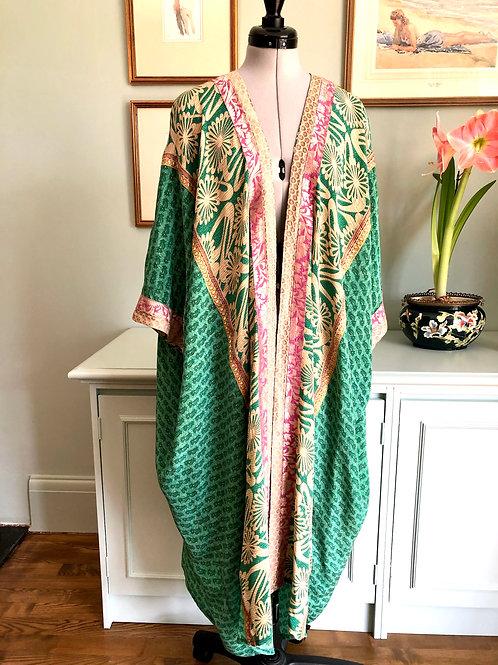 CARRIE KAFTAN KIMONO ca5, hand made, vintage Indian silk crepe