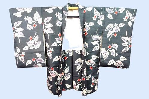 GREY MEISEN 1900-50s antique Japanese Haori jacket, grey with leaf design