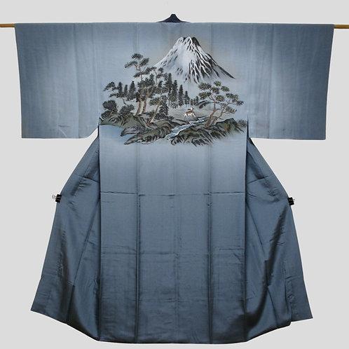 FUJI  LANDSCAPE, men's blue silk Kimono Juban with Mount Fuji landscape