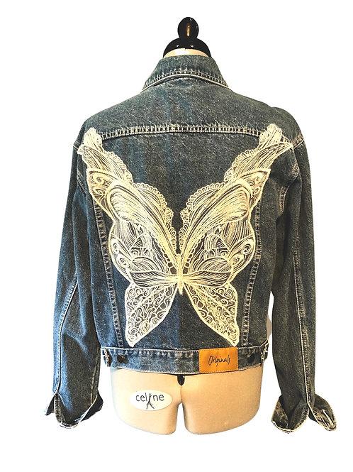 BUTTERFLY DENIM JACKET D1, upcycled jacket, size 14, butterfly lace, wing motifs