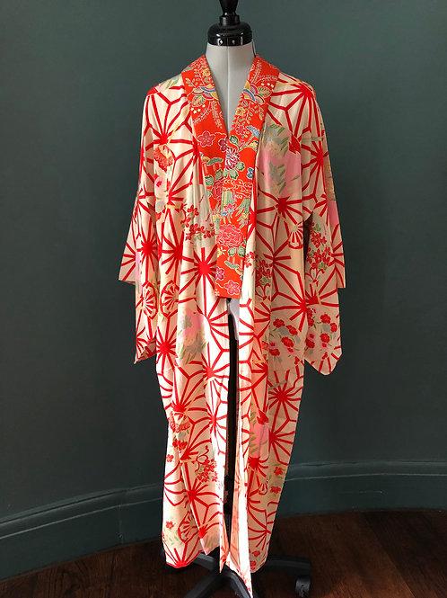 ASANOHA UCHIWA antique  Juban Kimono, cream silk with red hemp leaf and fan