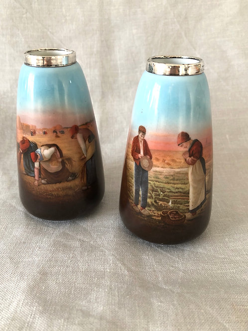 VINTAGE BUD VASES, pair with images inspired by Jean-Francois Millet