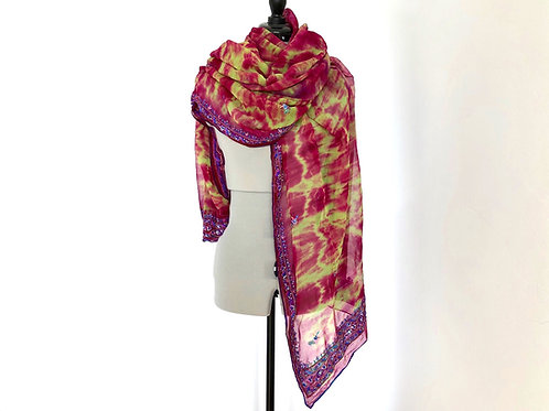 STOLE, SCARF in Pink and Lime georgette blend
