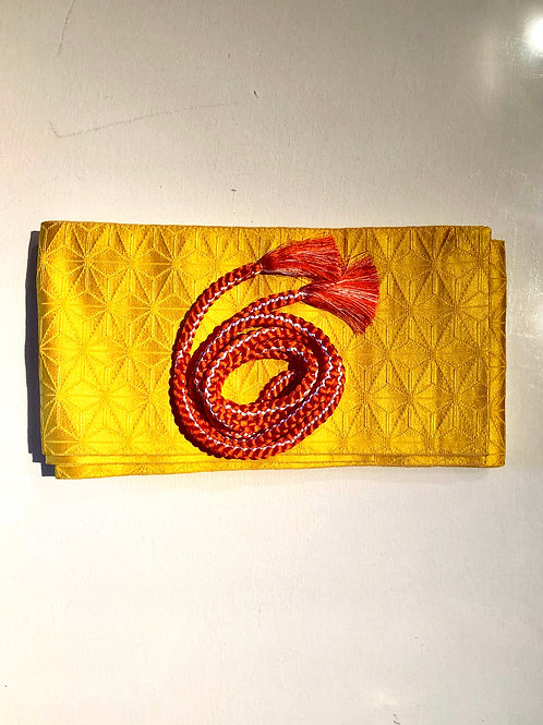 Obi, Yellow Hanhaba sash for Japanese kimono & Obijime cord in orange