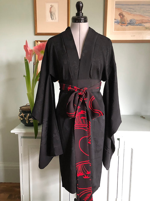 TOMOKO, quality vintage Japanese Silk Haori, hand made, loose fit, duster coat