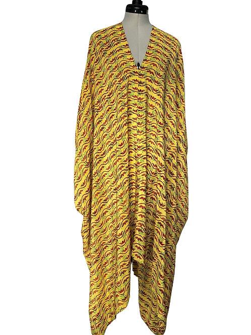 'POIROT' JAZZY KAFTAN J6,  vintage Indian silk, one size,