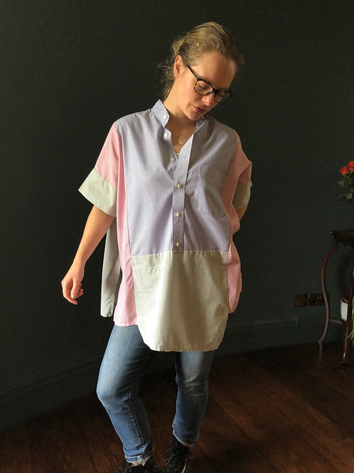STRIPED SHIRT up-cycled loose fitting tunic style top