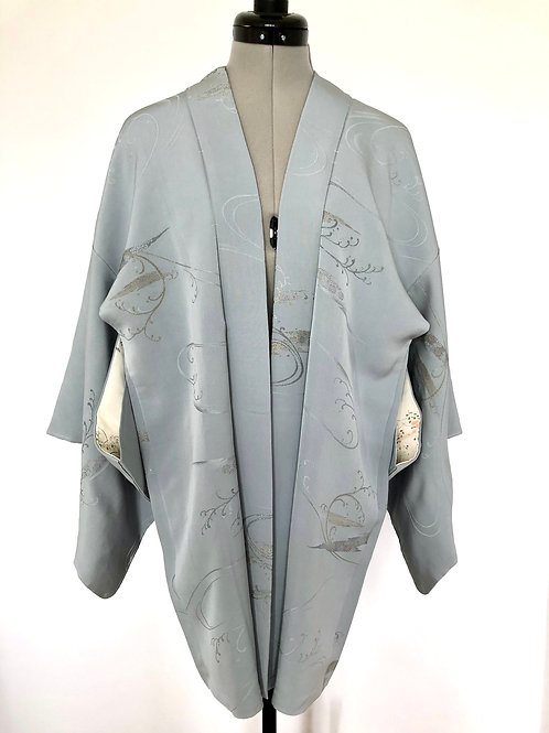 SILVER BLUE WAVE, 1970-80s vintage Japanese Kimono Haori jacket, blue grey silk