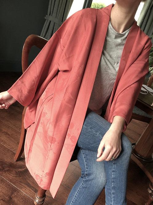 EMIYO vintage Japanese Haori jacket in salmon pink silk with woven design