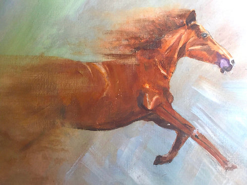 FINE ART PRINT - 'TO THE FINISH'  fine art print on art paper, galloping horse,