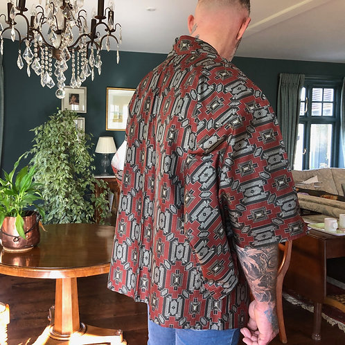 OSHIMA SILK IKAT Weave, vintage 1950s Japanese Kimono Haori Jacket, high quality