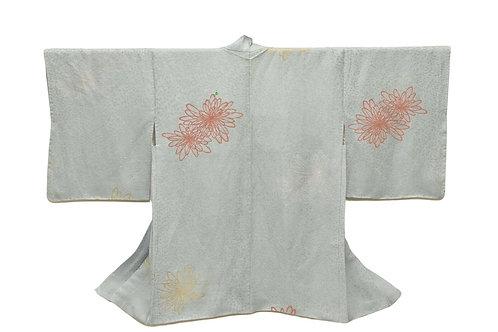 BLUE KIKU Japanese Kimono Haori Jacket, pale grey blue silk with Lamé threads