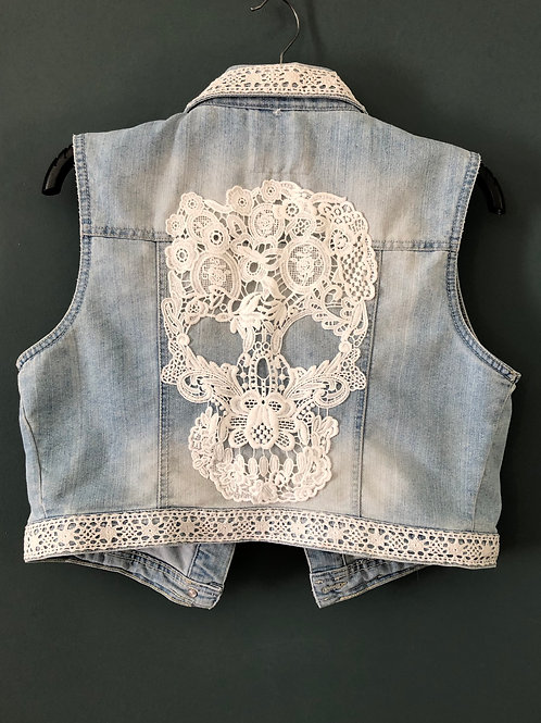 SKULL, DENIM WAISTCOAT, up-cycled gilet, vest with white vintage lace and skull