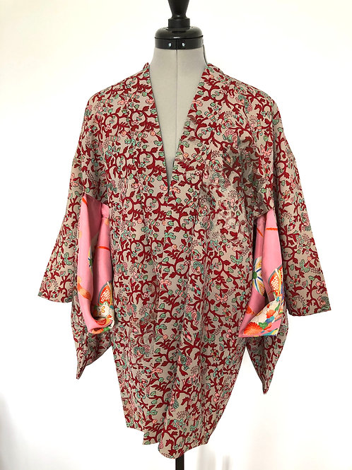 RED KARAKUSA vintage Japanese Haori jacket in red and grey silk