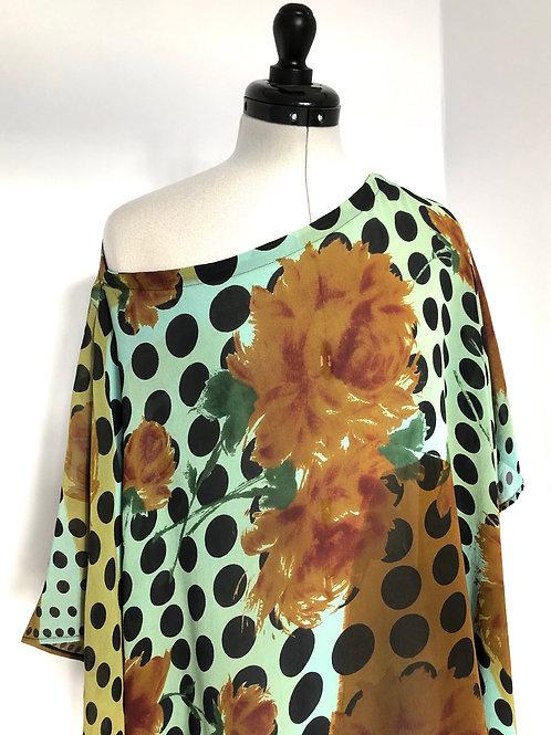 CHLOE KAFTAN C19, Black Dot, vintage Indian Silk Georgette, short sleeve