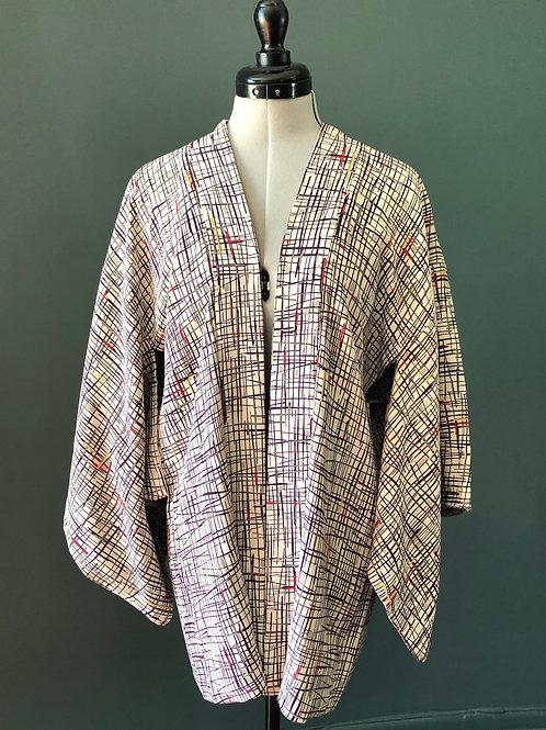 CROSS HATCH, vintage Japanese Kimono Haori jacket, in soft chirimen crepe