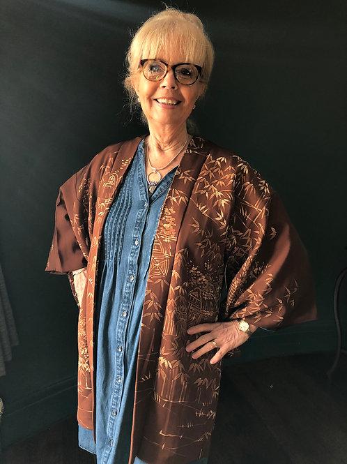 JAPANESE LANDSCAPE Kimono Haori jacket in brown silk with scenery design