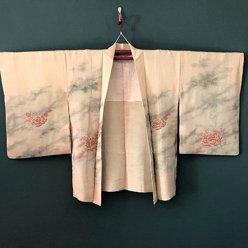 PEACH ROSE, vintage Japanese Haori, peach silk & lamé thread kiku design