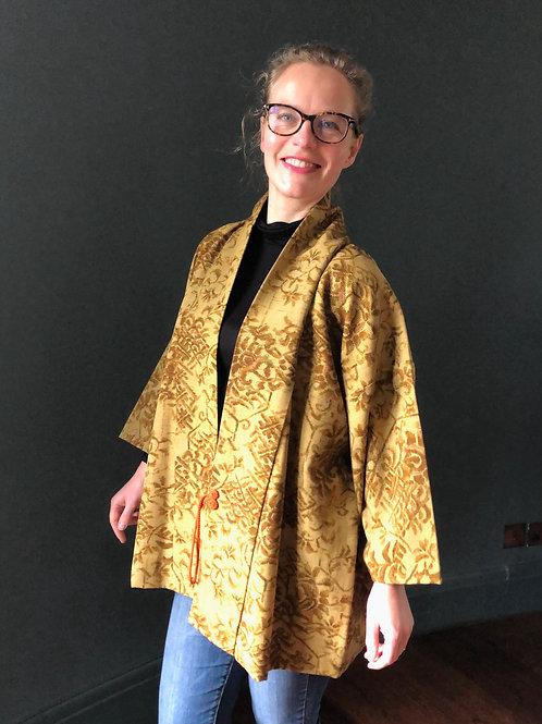 OCHRE LANDSCAPE vintage Japanese Dochugi jacket, fine wool, ochre and tobacco