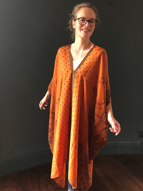 JAZZY KAFTAN vintage Indian silk crepe, dark orange and black, one size J8