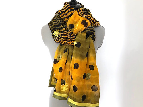 EMBROIDERED, LEHERIA STOLE, Shawl, Scarf, Traditional Tie-Dye, Yellow and Black