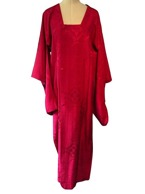 VINTAGE JAPANESE MICHIYUKI, Kimono Coat in magenta Silk